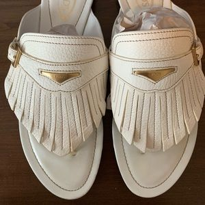 Tod's Italy White Fringed sandals